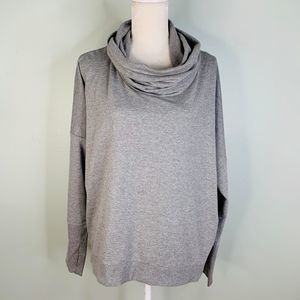 Onque Casual Top XL Gray Cowl Neck LS Stretch New